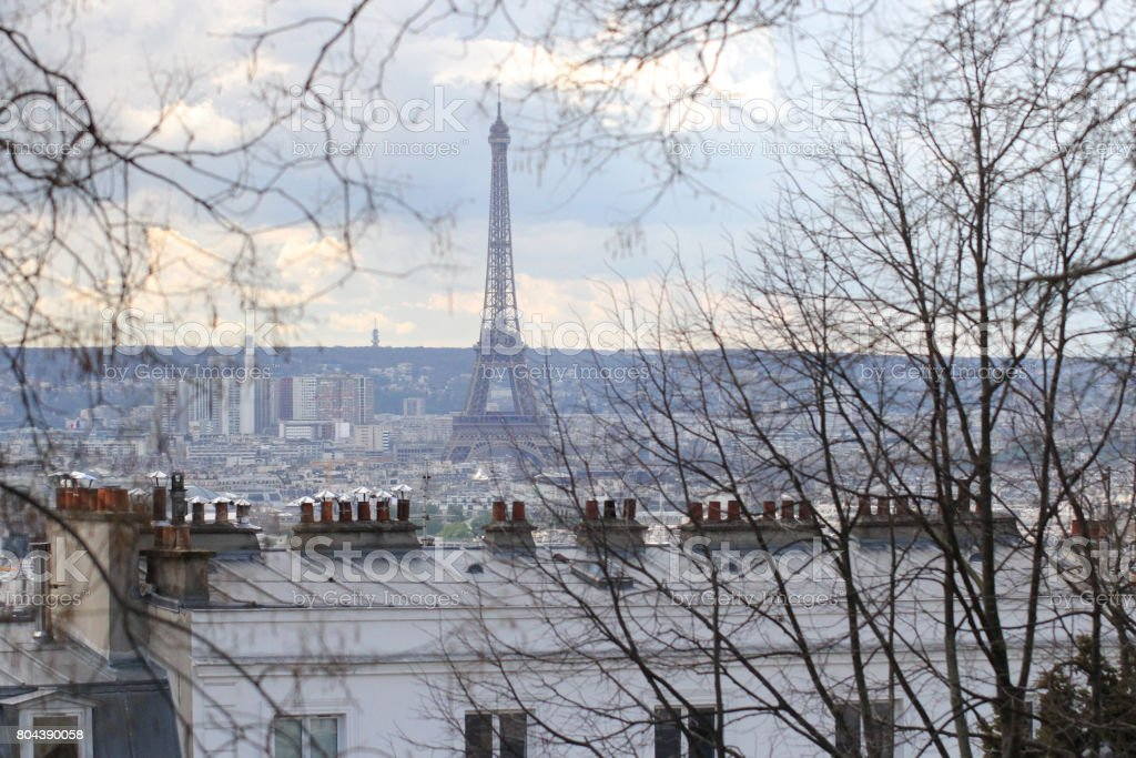 backgrounds of paris city landscape view, winter, paris, france stock photo