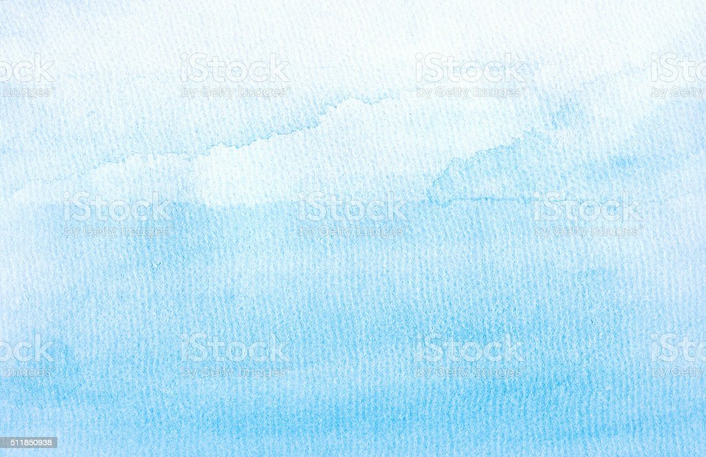 Backgrounds Watercolor Painting Blue Sky Cloud Sea stock photo