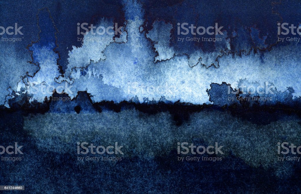 Backgrounds Watercolor Painting Blue Sky Cloud Sea Storm stock photo