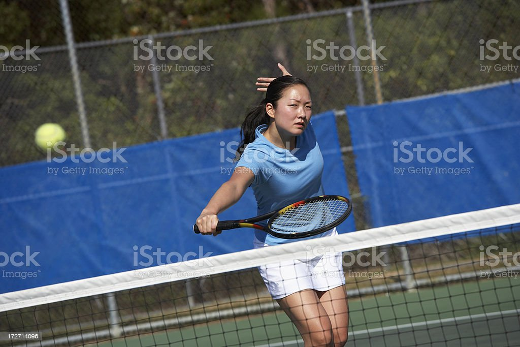 Backhand volley royalty-free stock photo