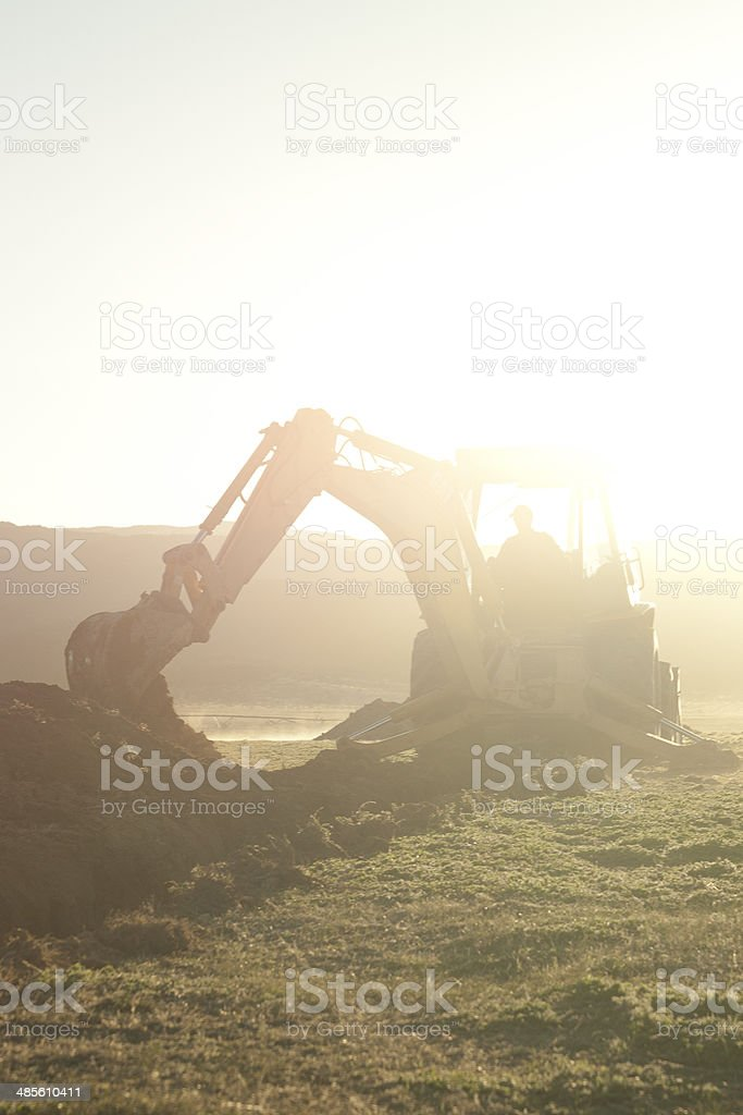 Backhoe High Key stock photo