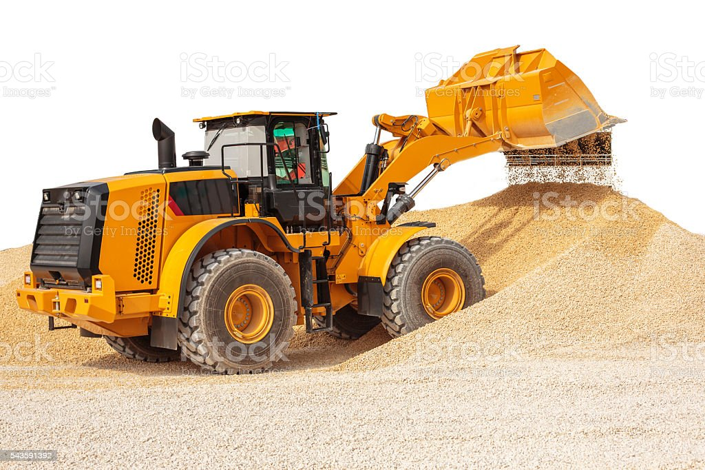 Backhoe loader or bulldozer - excavator with clipping path isola stock photo