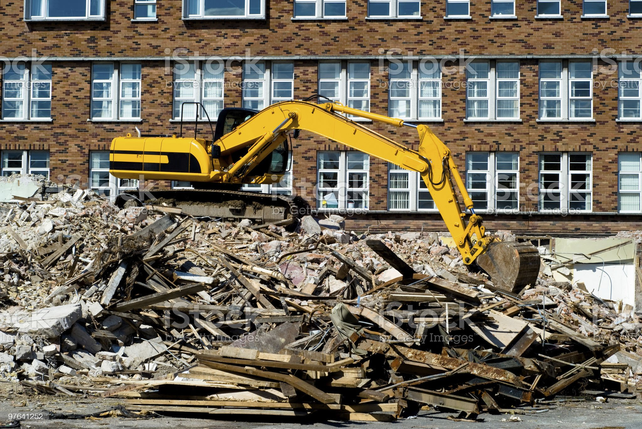Backhoe on Demolition Site royalty-free stock photo