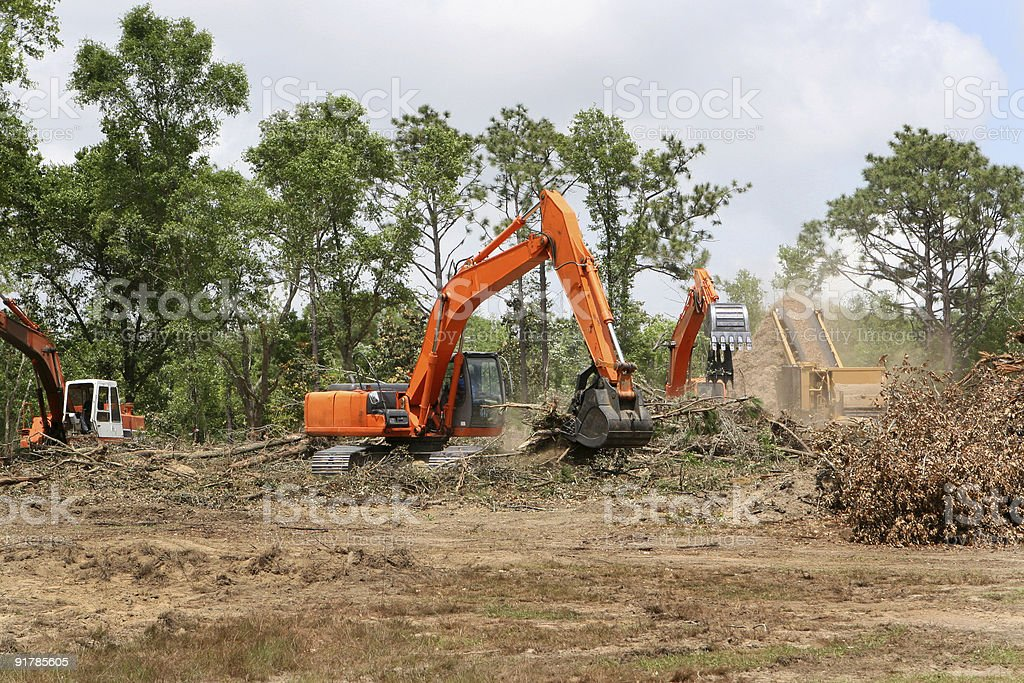 Backhoes Clearing Land royalty-free stock photo