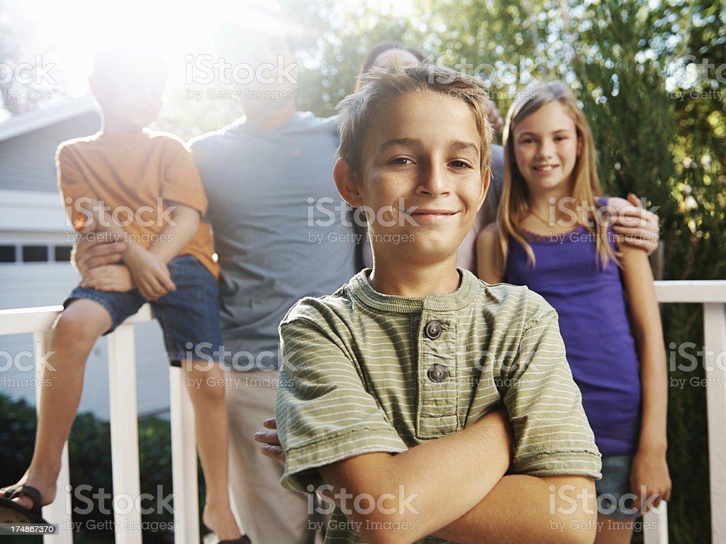 Backing their confident son royalty-free stock photo