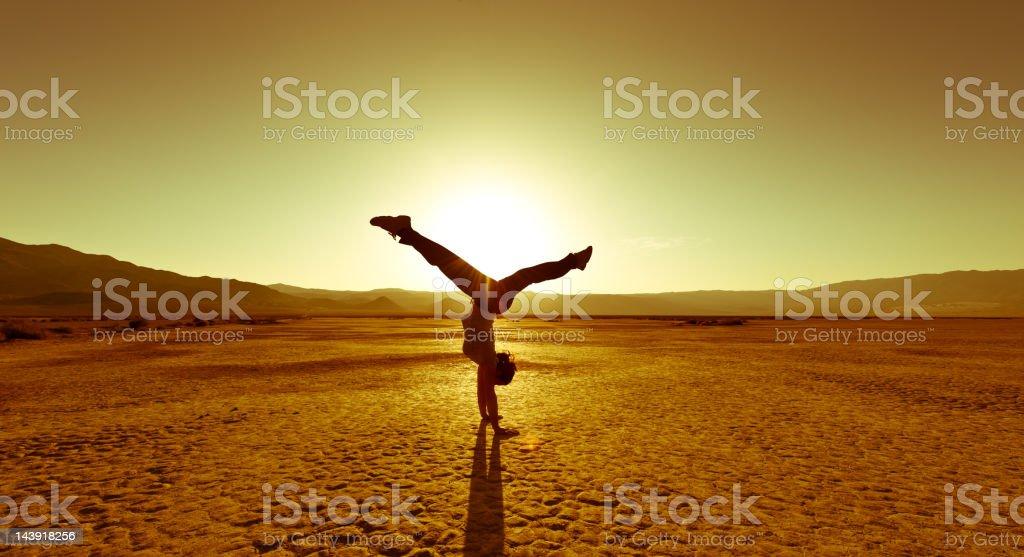 Backlight Acrobatics stock photo