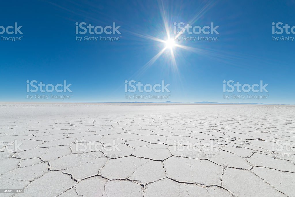 Backlight in the majestic Uyuni Salt Flat, Bolivia stock photo