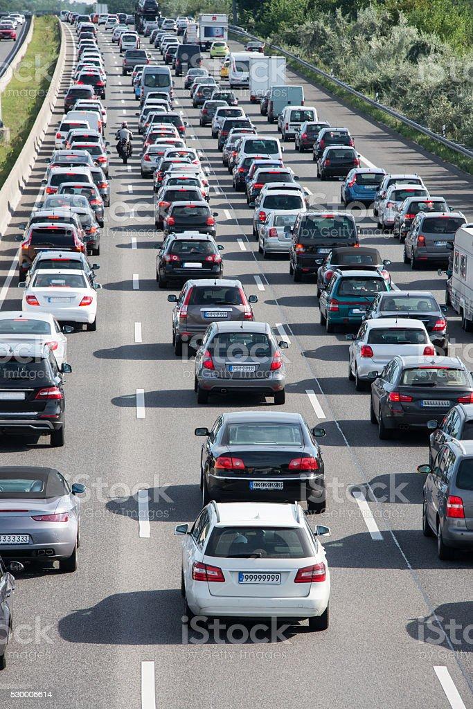 backlight in traffic jam stock photo