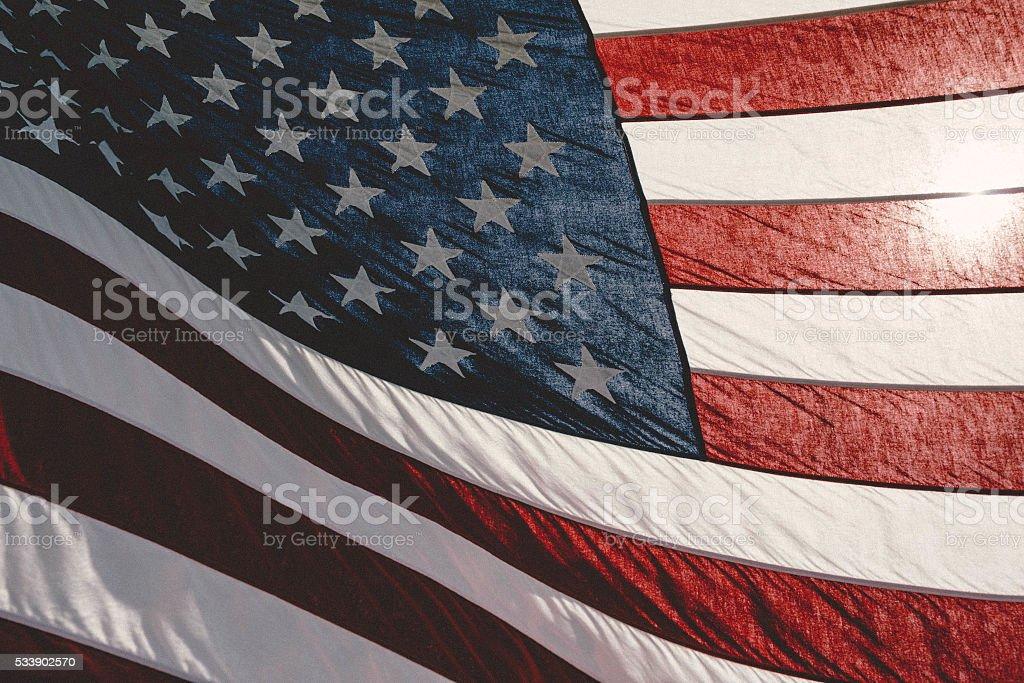 Backlit American Flag stock photo