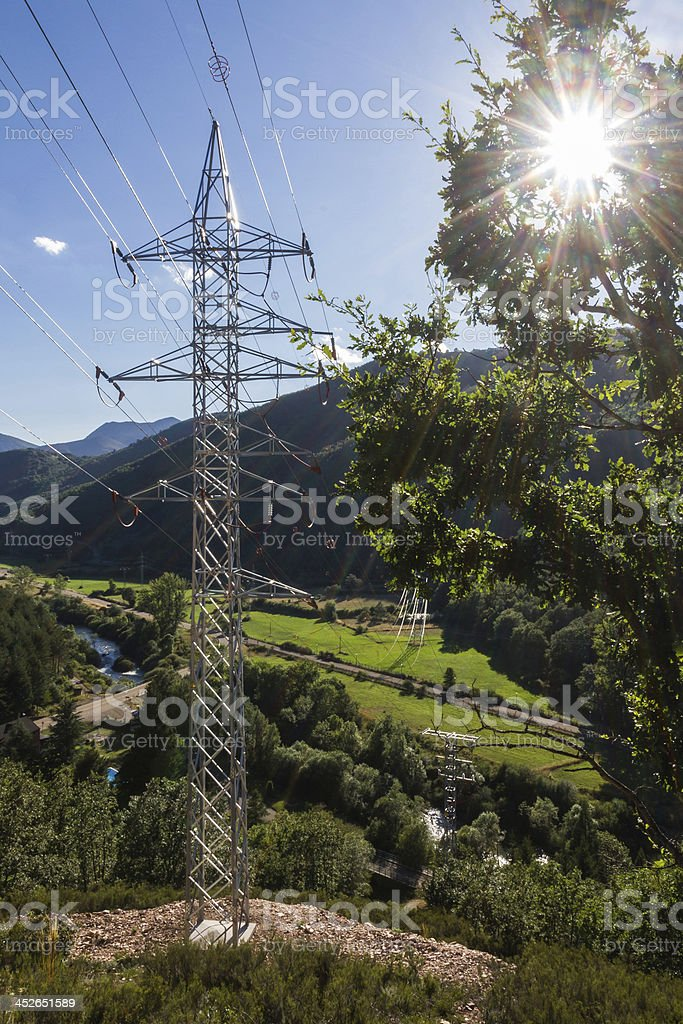 Backlit Electric Lying - Tendido Electrico a Contraluz royalty-free stock photo