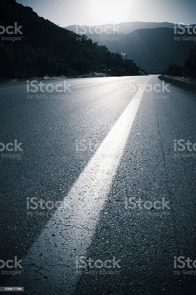 backlit for road and dividing line royalty-free stock photo