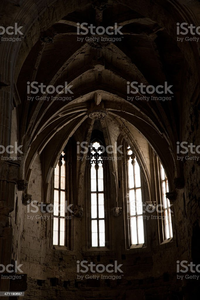 Backlit gothic cathedral windows royalty-free stock photo