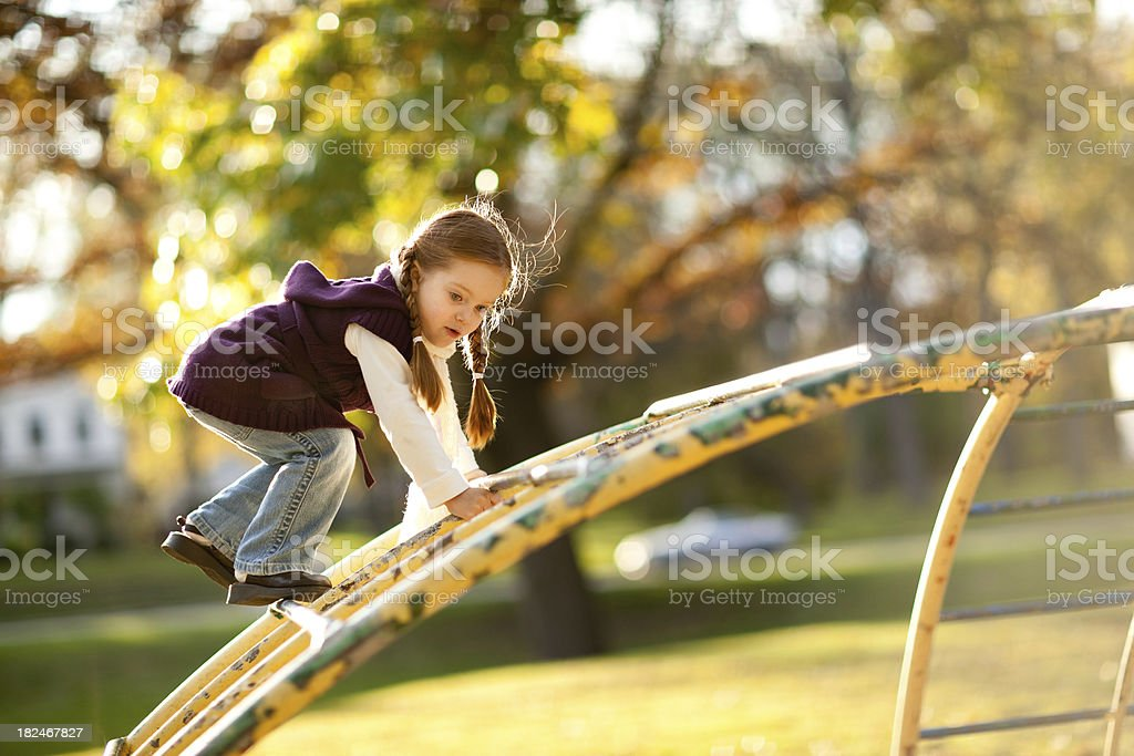 Backlit Little Girl Playing in the Park on Autumn Day royalty-free stock photo