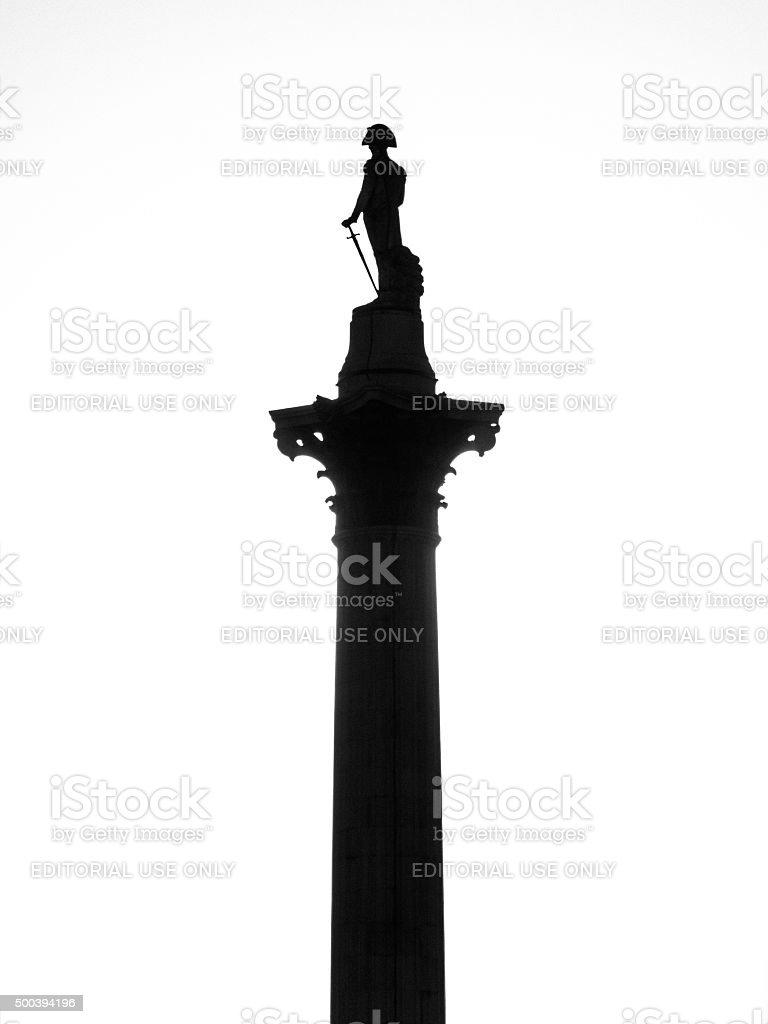 Backlit, monochrome view of Nelson's Column in Trafalgar Square, London stock photo
