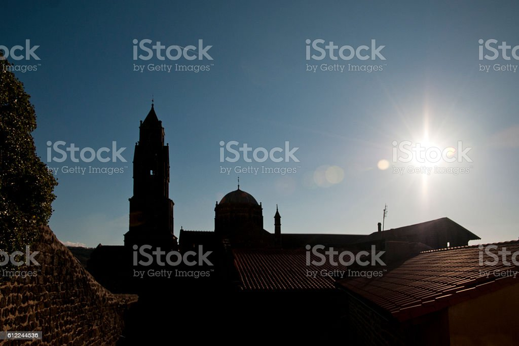 back-lit on bell tower and cupola  of cathedral stock photo