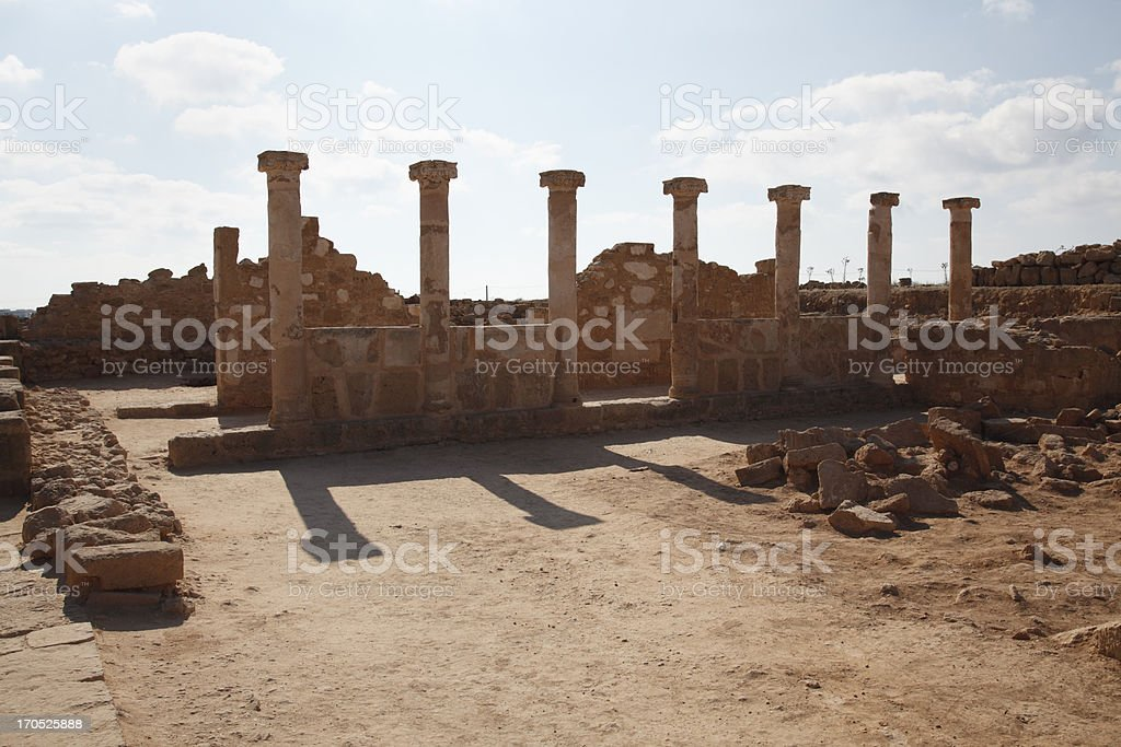 backlit roman ancient columns in Pafos archaeological site Cyprus royalty-free stock photo
