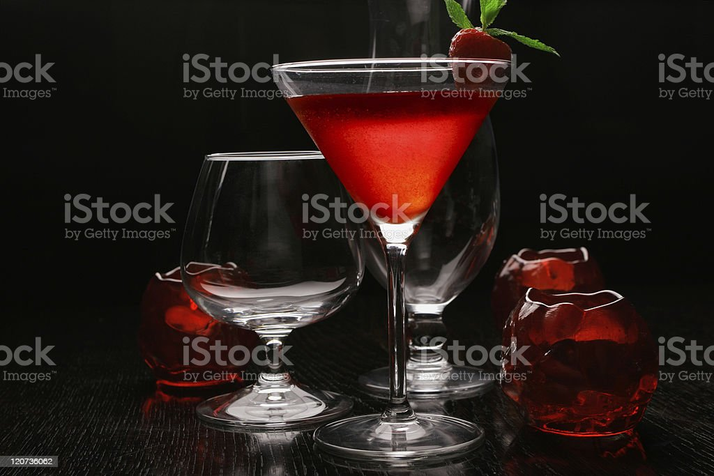 Backlit strawberry cocktail stock photo