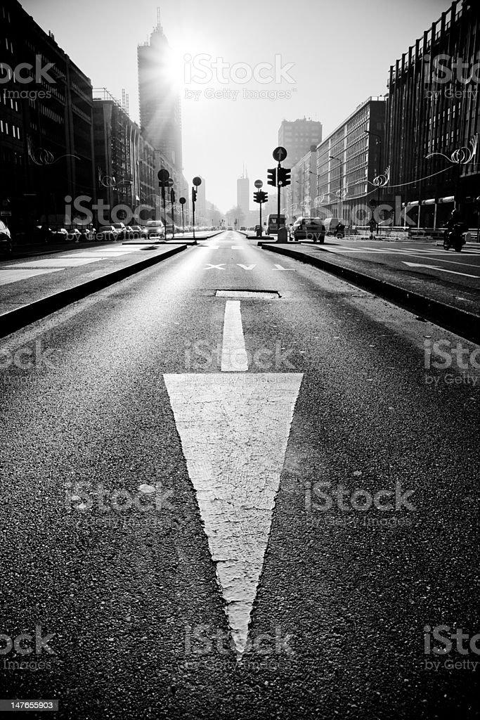 Backlit taxi lane in Milan stock photo