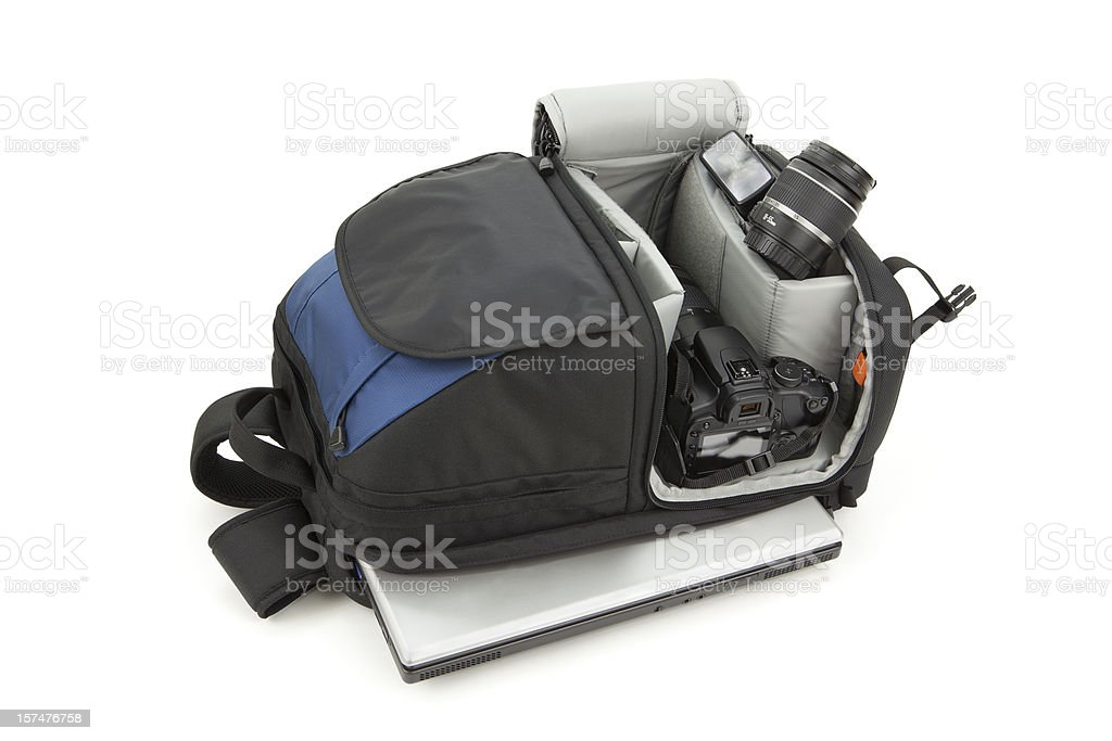 Backpack Camera and Laptop stock photo