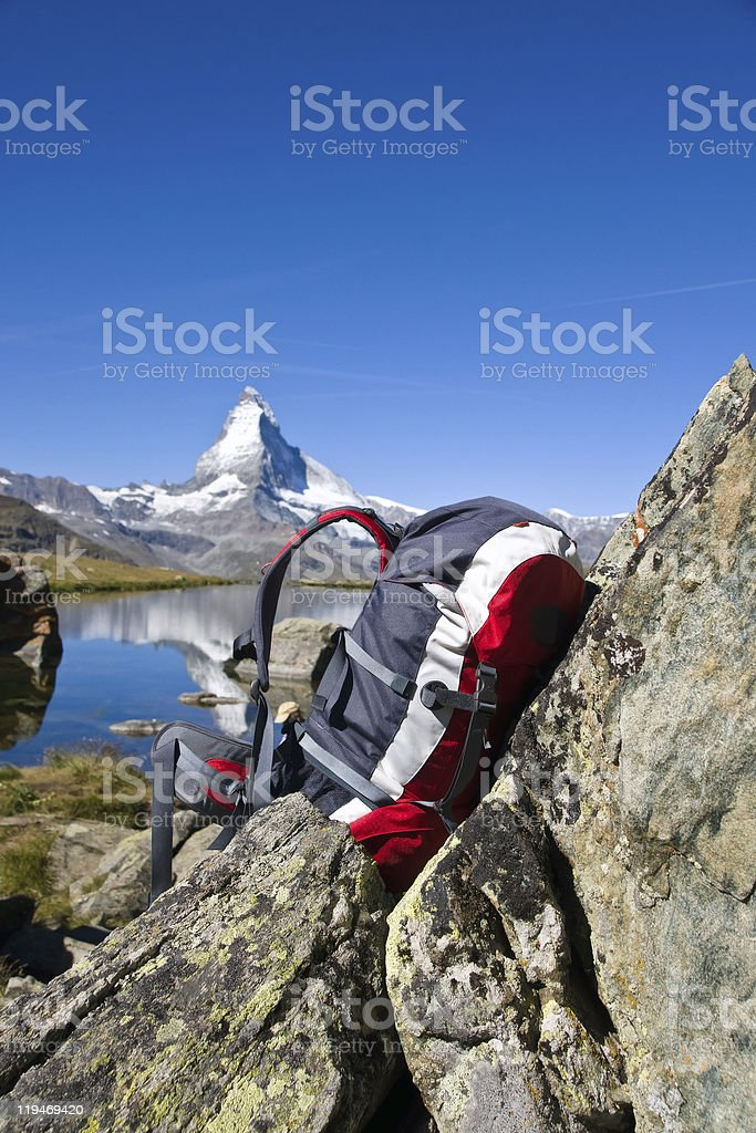 Backpack in front of the Matterhorn royalty-free stock photo