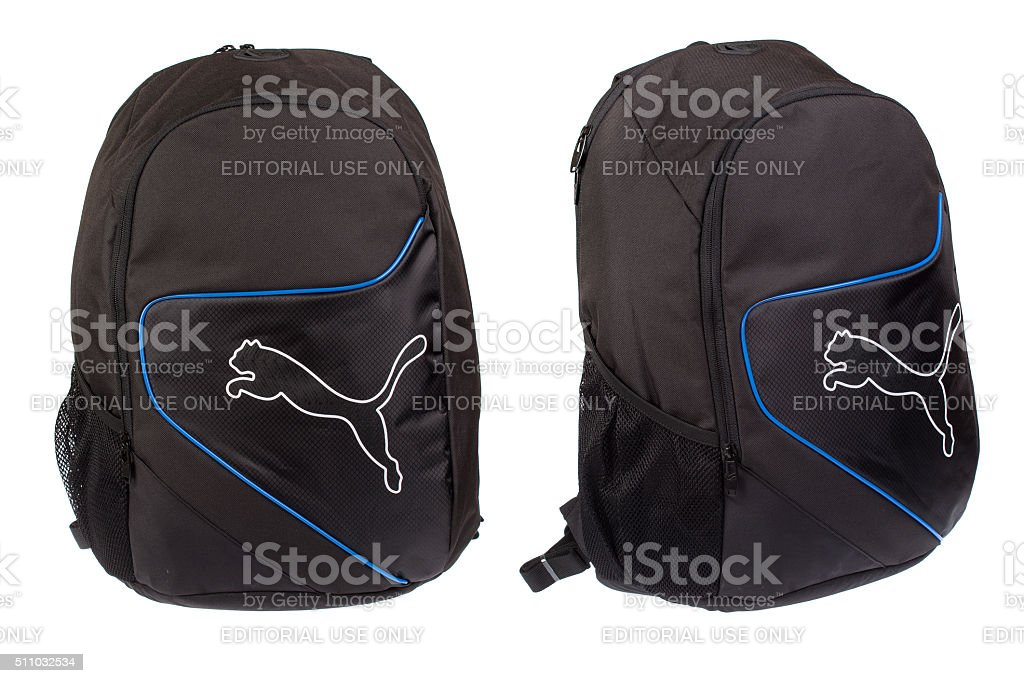 PUMA backpack, isolated on white. Product studio shots stock photo