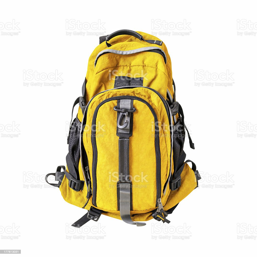 Backpack isolated w/ path stock photo