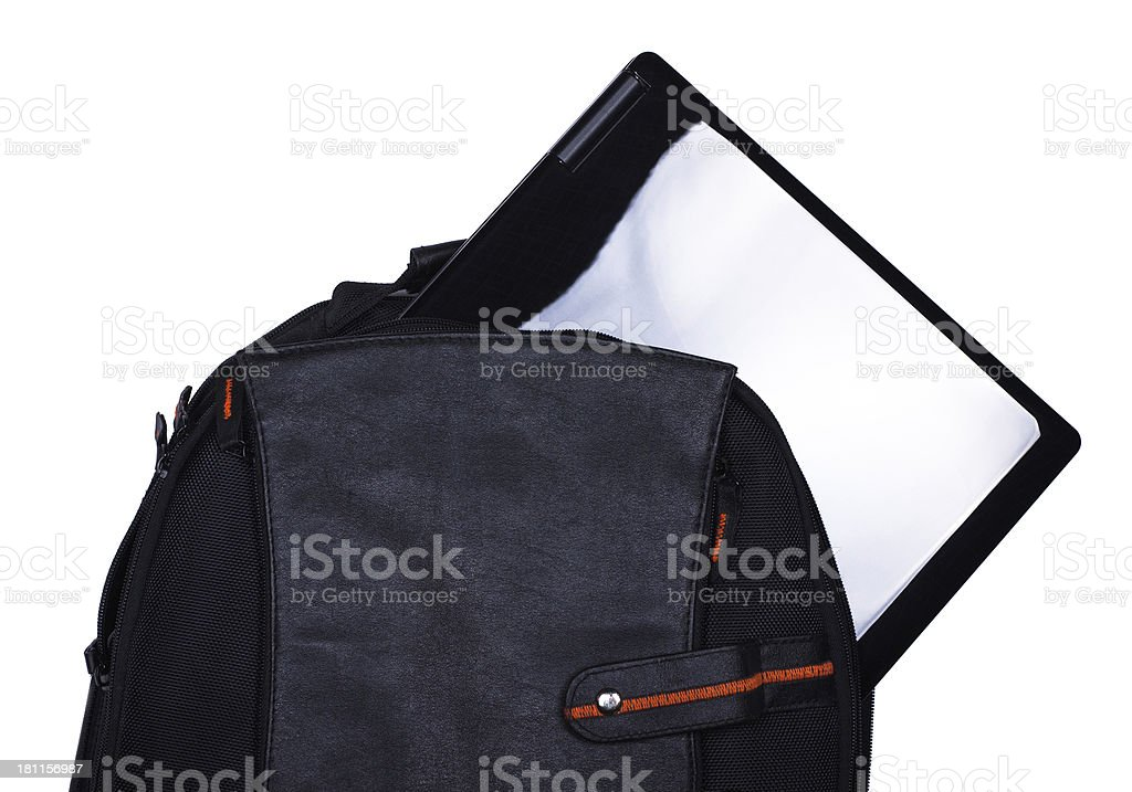 Backpack with laptop royalty-free stock photo