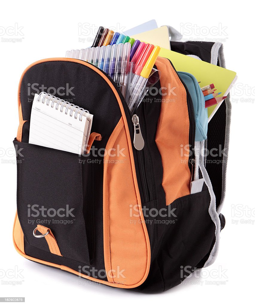 Backpack with school supplies royalty-free stock photo