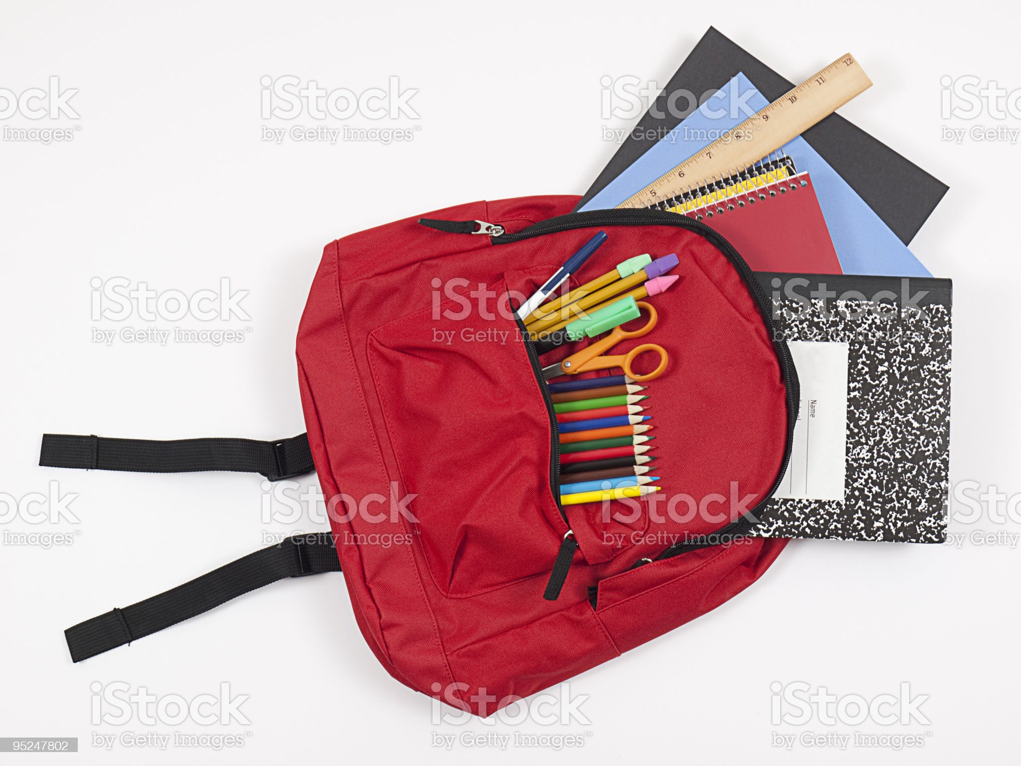 Backpack with school supplies spilling out royalty-free stock photo