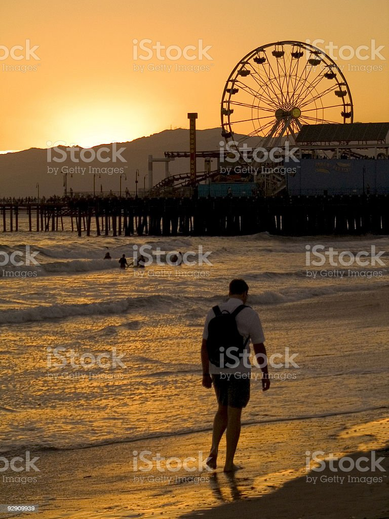 Backpacker at Sunset royalty-free stock photo
