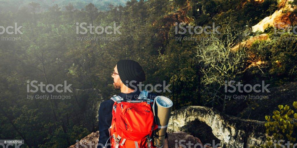 Backpacker Camping Trekking Wanderlust Leisure Concept stock photo