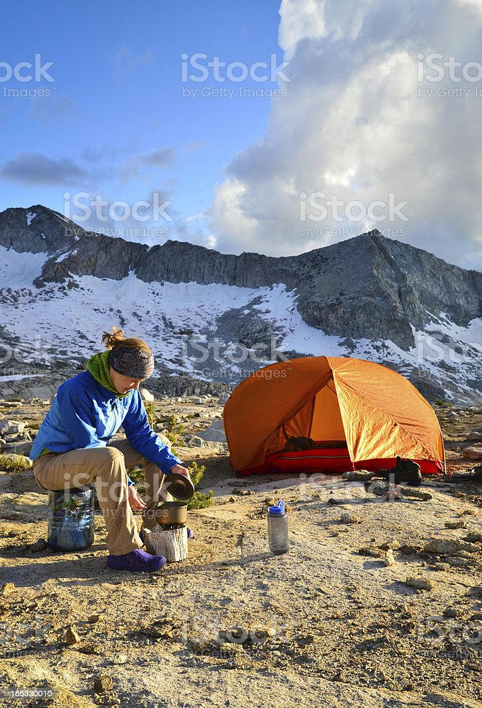 Backpacker Cooking stock photo