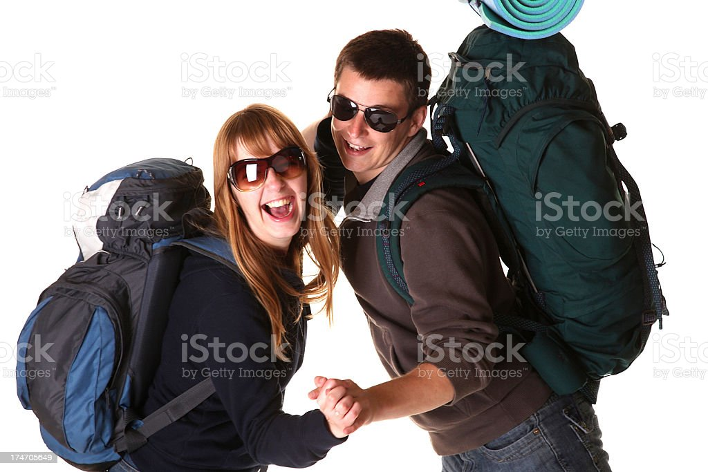Backpacker couple royalty-free stock photo