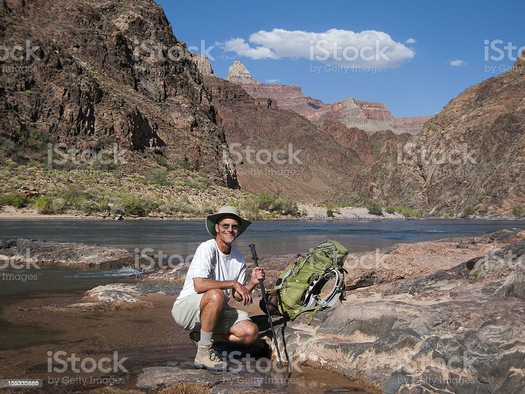 Backpacker Hiked to Colorado River Grand Canyon royalty-free stock photo