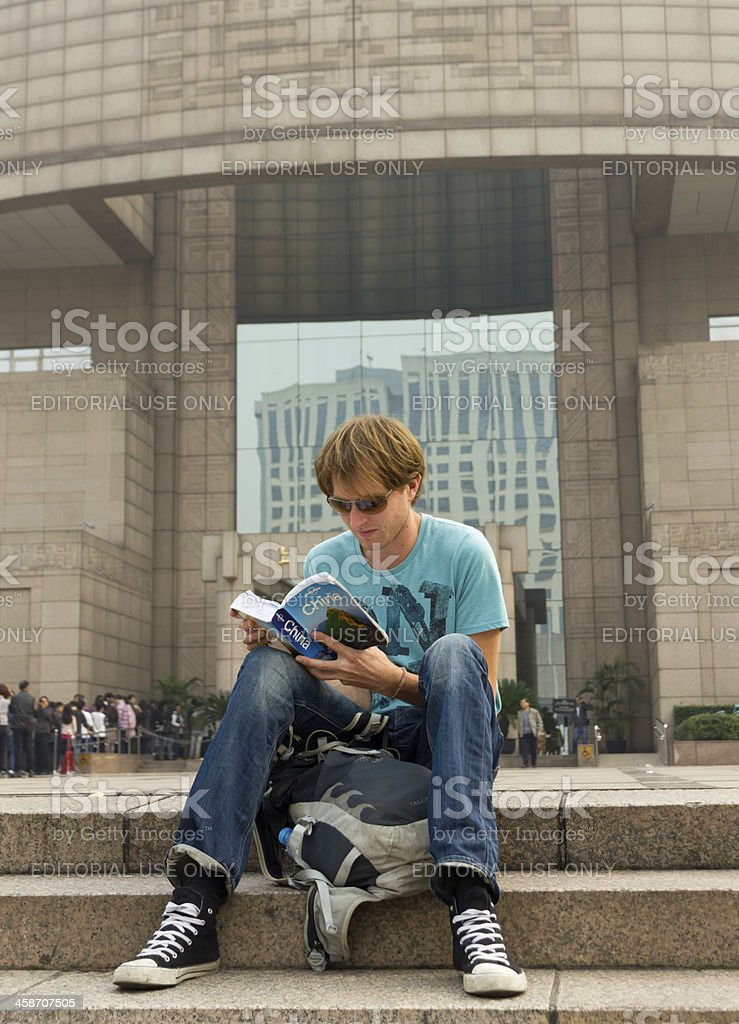 Backpacker in China royalty-free stock photo