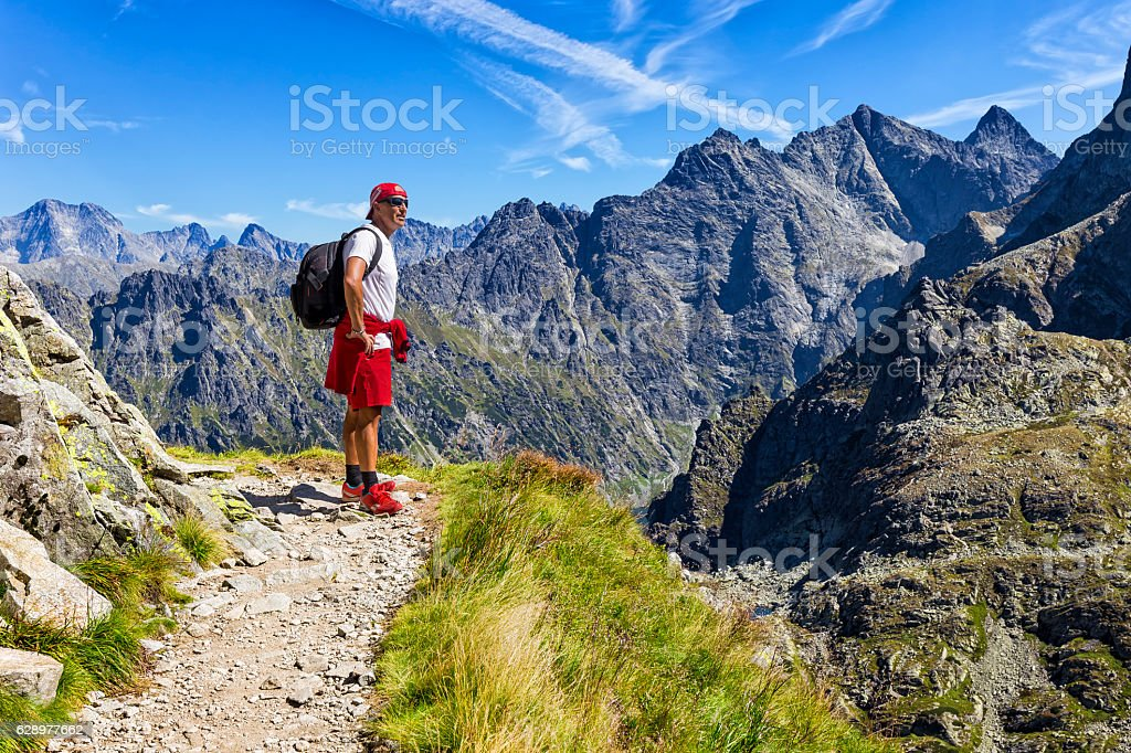Backpacker in the Tatra Mountains, Poland stock photo