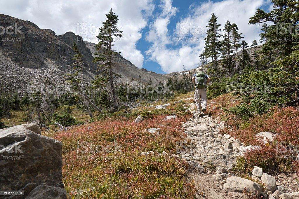Backpacker man hiking Indian Peaks Wilderness Buchanan Pass trail Colorado stock photo