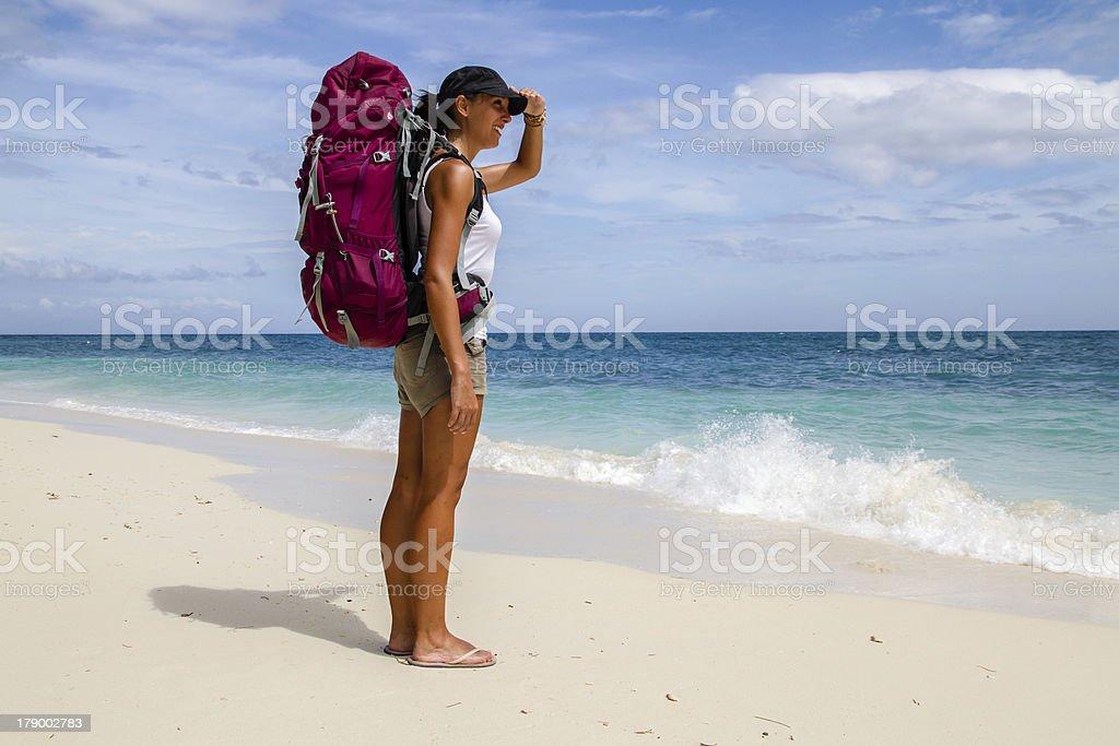 Backpacker on beach stock photo