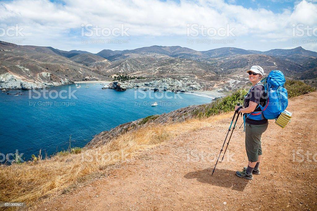 Backpacker On Catalina Island, California royalty-free stock photo