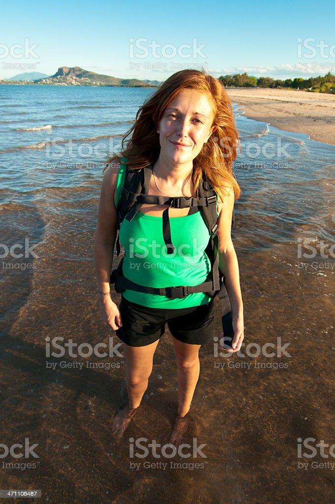 Backpacker on the Beach stock photo