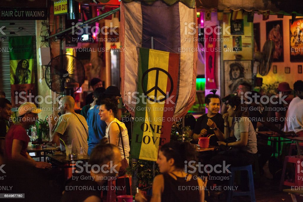 Backpacker tourists at Reggae bar in Khao San Road stock photo
