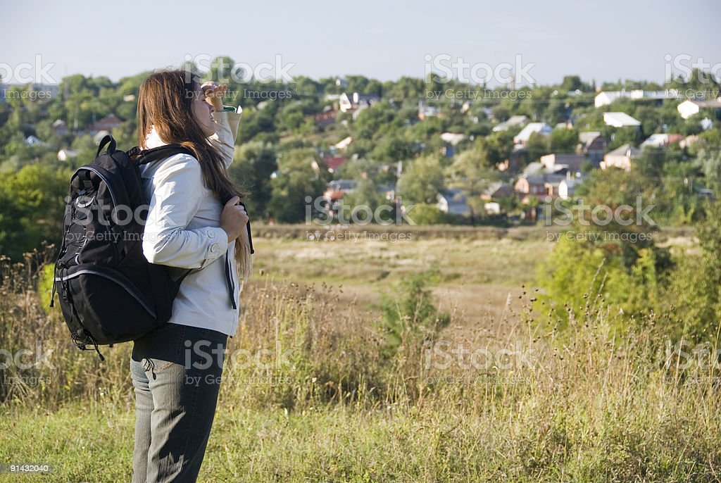 Backpacker woman royalty-free stock photo