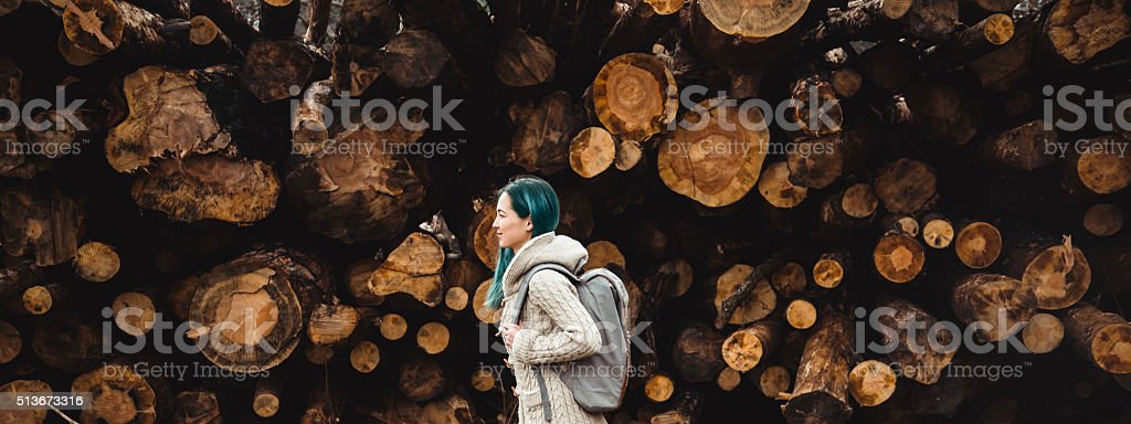 Backpacker young woman stock photo