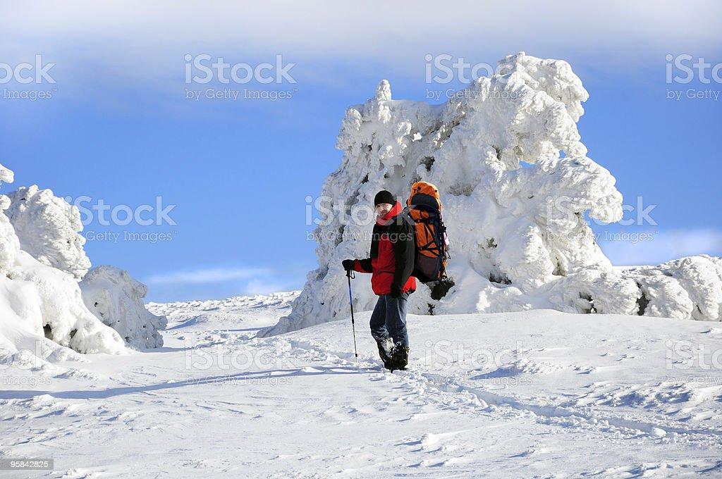 Backpackerin snow royalty-free stock photo