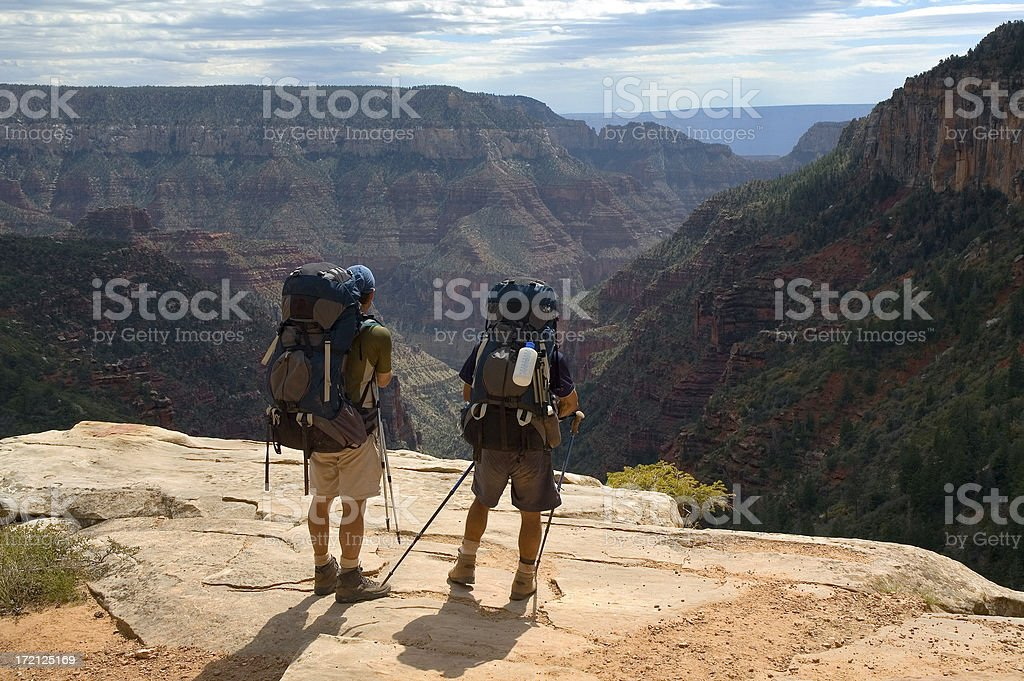 Backpacker's Enjoying Grand Canyon View royalty-free stock photo