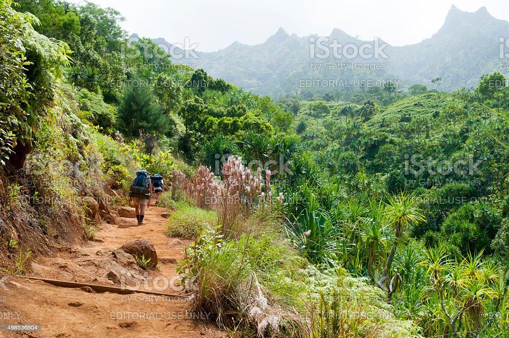 Backpackers hiking the Kalalau Trail on Kauai's north shore stock photo