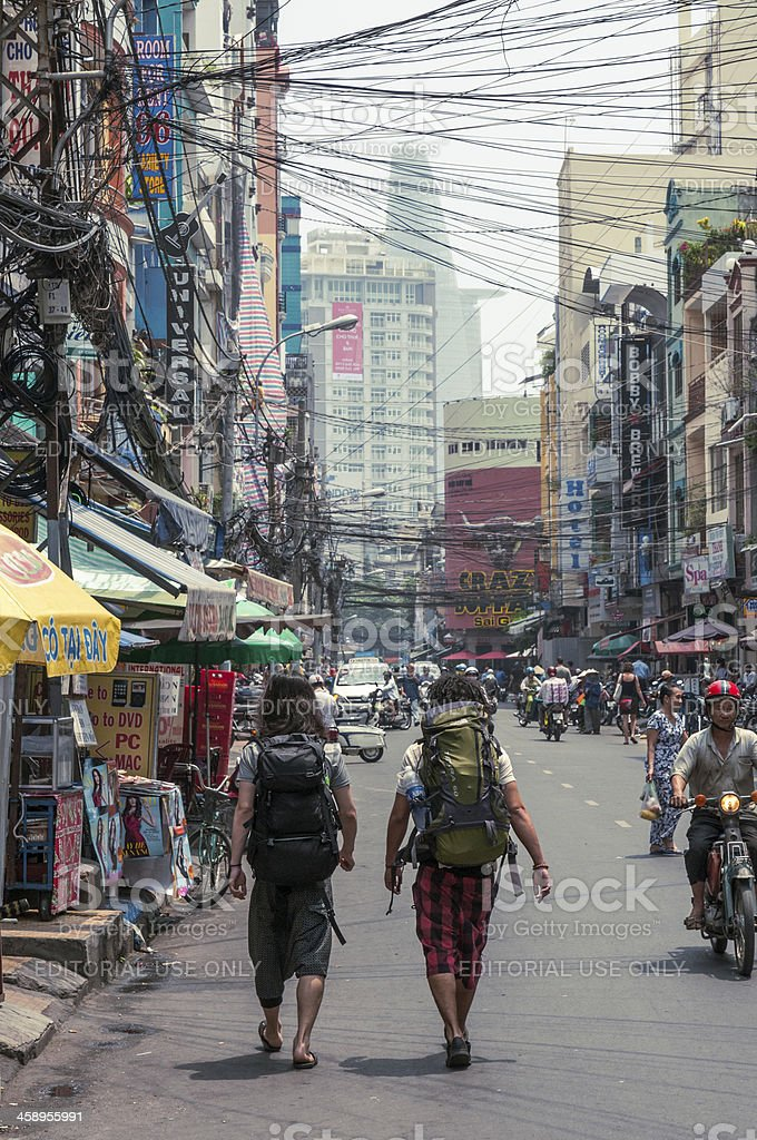 Backpackers In Ho Chi Minh City (Saigon), Vietnam stock photo