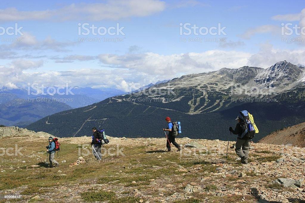 Backpackers Near Whistler-Blackcomb royalty-free stock photo