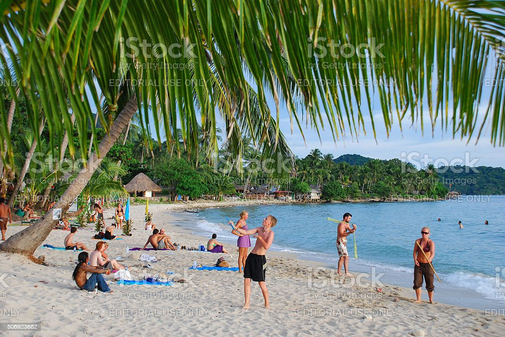 Backpackers on Ko Chang, Thailand stock photo