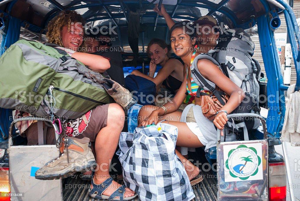 Backpackers on Ko Phangan, Thailand stock photo
